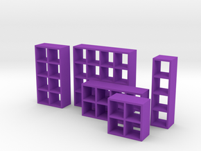 1:48 Set of Bookcases in Purple Strong & Flexible Polished
