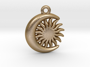 Sun&Moon Pendant in Polished Gold Steel