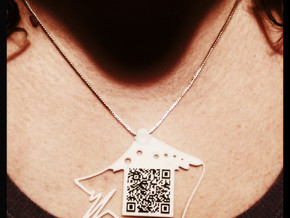QR Pendant in White Strong & Flexible