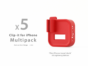 Multipack x5  Clip-it US Lightning edition in Red Strong & Flexible Polished