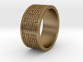 Binary Code Ring Ring Size 8 in Polished Gold Steel