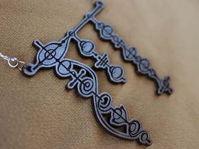 """Live Long and Prosper"" Vulcan Script Pendant in Polished Grey Steel"