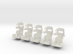 1/24th Racing Containment Seat 5pk in White Strong & Flexible