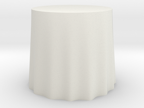 "1:24 Draped Table - 30"" diameter in White Strong & Flexible"