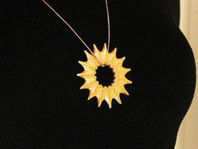 Gunes Pendant (#1511) in Polished Gold Steel