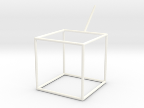 Wire Model for Soap: Cube in White Strong & Flexible Polished