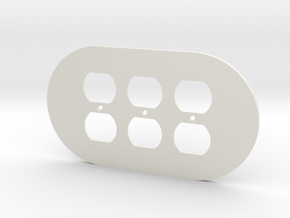plodes® 3 Gang Duplex Outlet Wall Plate in White Strong & Flexible