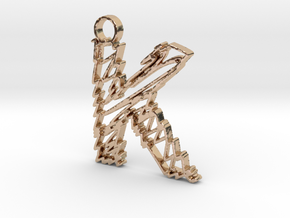 "Sketch ""K"" Pendant in 14k Rose Gold Plated"