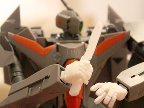 VF-11 Relámpago - Hands; Knife Wielding + Fist in White Strong & Flexible Polished