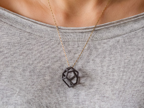 Voronoi cell necklace in Matte Black Steel