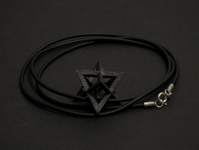 Star Tetrahedron pendant #Black-Steel #33mm in Matte Black Steel