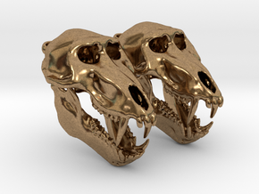 Baboon skull with open jaw - Earring Pair (2) in Raw Brass