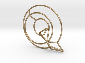 Q Typolygon in Polished Gold Steel