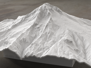8'' Mt. Hood Terrain Model, Oregon, USA in White Strong & Flexible