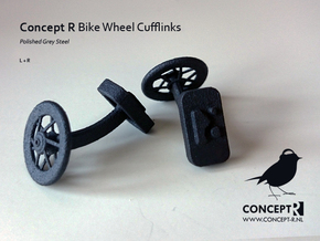 Bike Racing Wheel Cufflinks  (Order 2 For a Set) in Matte Black Steel