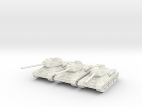 1/160 T-34-85 tank (3) in White Strong & Flexible