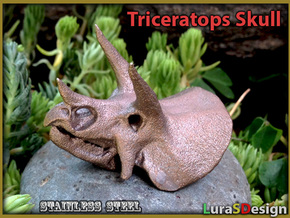 Triceratops Dinosaur Skull in White Strong & Flexible