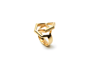 Twin Hexagon Ring in 18k Gold Plated