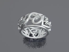Anello Cuori Valentine in Polished Silver