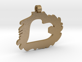 Love is Grand and Messy No. 2 Pendant in Polished Gold Steel
