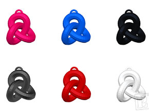 Neverending-knot-3cm pendant / earring / necklace in Polished Metallic Plastic