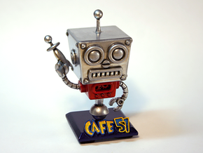 Cafe 51 - Sci-Fi Robot with Game Logo Base in White Strong & Flexible