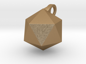 Icosahedron - Pendant in Matte Gold Steel