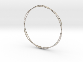 Slender Octet Bangle in Rhodium Plated
