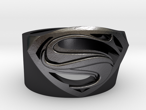 Superman Ring - Man Of Steel Ring US11 in Polished Grey Steel