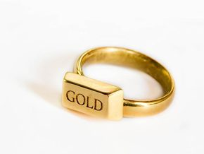 Gold Bar Ring, Size US9 in 18k Gold Plated