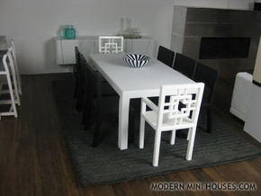 Otto Modern Dining Table 1:12 scale in White Strong & Flexible Polished