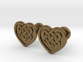 Heart Cufflinks in Raw Bronze