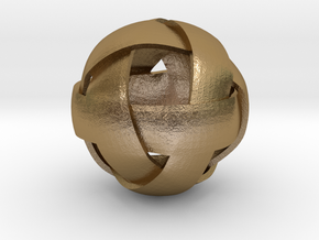 Spherical Celtic Knot - Four Bands in Polished Gold Steel