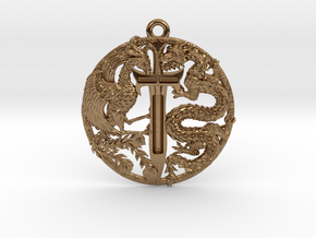 Dragon and Phoenix Pendant in Raw Brass
