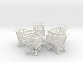5 Miniature Shopping Trolleys (Linked) in White Strong & Flexible