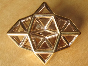 Deltahedron Toroid Pendant in Polished Bronze