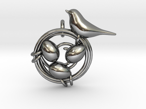 Birdie Pendant in Polished Silver