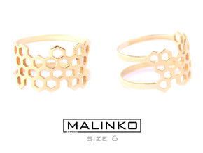 Honeycomb Ring Size 6 (16.5mm) in 18k Gold Plated