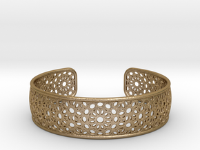 Open Flower Pattern Bracelet in Polished Gold Steel