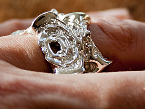 Intestines of complex numbers - 5 Spined Ring in Polished Silver