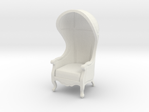 1:24 Half Scale Untextured Carrosse Chair in White Strong & Flexible