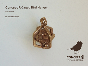 Caged Bird Charm w. Ear (Small) in Raw Bronze