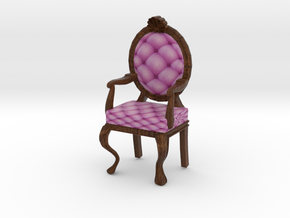 1:48 Quarter Scale PinkDark Oak Louis XVI Chair in Full Color Sandstone
