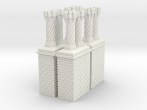 CB-09 Tudor Chimneys With Stacks in White Strong & Flexible