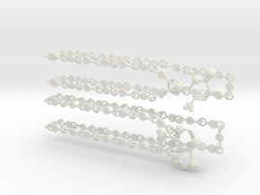 Adenine/thymine Couple Necklace in White Strong & Flexible