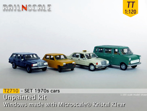 4x 1970s cars (SET B - TT 1:120) in Frosted Ultra Detail