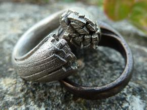 Cracking Wood ring - Size6 in Polished Nickel Steel