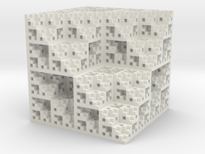 Eight Cubes Fractal Sponge in White Strong & Flexible
