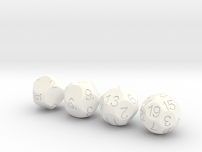 D9 D11 D13 D19 Sphere Dice Set in White Strong & Flexible Polished