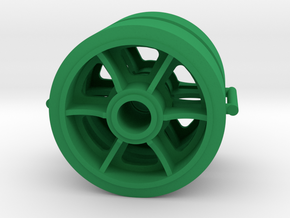 Two 1/16 scale 6 spoked M4 Sherman wheels  in Green Strong & Flexible Polished